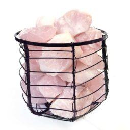 Basket Light with Rose Quartz Chunks   Himalayan Salt Factory