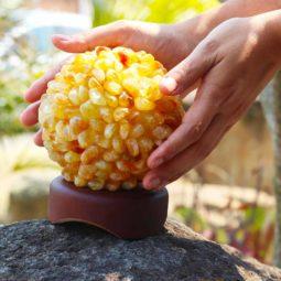 Citrine Ball Lamp with Timber Base | Himalayan Salt Factory
