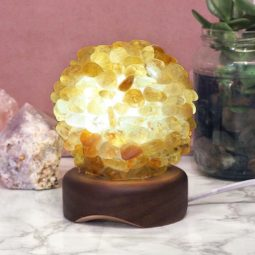 Citrine Ball Lamp with Timber Base - White LED Bulb | Himalayan Salt Factory