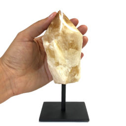 Citrine Crystal Point On Metal Stand 1   Himalayan Salt Factory