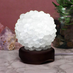 Clear Quartz Ball Lamp with Timber Base - White LED Bulb | Himalayan Salt Factory