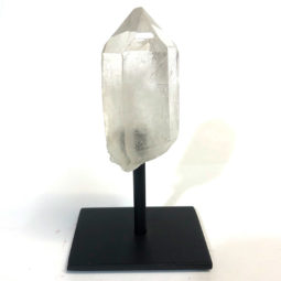 Clear Quartz Crystal Point On Metal Stand | Himalayan Salt Factory