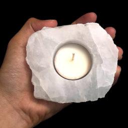 Clear Quartz Tealight Candle Holder 1 - Polished | Himalayan Salt Factory