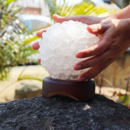 Quartz Ball Lamp – Timber Base | Himalayan Salt Factory
