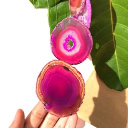 Wind Chime Brazil Agate Pink Slices   Himalayan Salt Factory