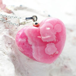 Pink Rhodonite Heart Pendant - Medium | Himalayan Salt Factory