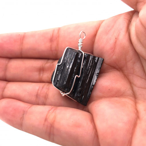 10 Black tourmaline Pendants wire wrap BR 2492 2 | Himalayan Salt Factory