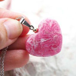 Pink Rhodonite Heart Pendant - Medium | Himalayan Salt Factory