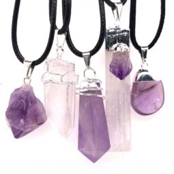 5 Pc Amethyst Crystal lovers pendants [JE05] 5 | Himalayan Salt Factory