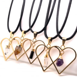 5 x Heart Designs Raw Crystal, Amethyst, Citrine, Tourm Pendants - BR 1507 3 | Himalayan Salt Factory