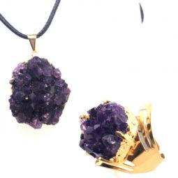 Amethyst Raw Set - High Grade Druzy Gold Ring & Pendant [JE10] 5 | Himalayan Salt Factory