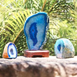 Blue Agate Crystal Set – 3 Units [SET08] 4 | Himalayan Salt Factory
