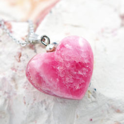 Pink Rhodonite Heart Pendant - Small | Himalayan Salt Factory
