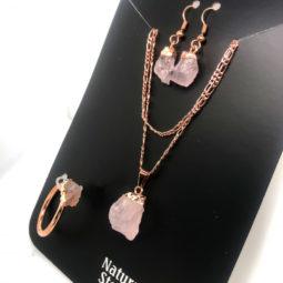 Raw Rose quartz 5 piece set BR2289 1 | Himalayan Salt Factory