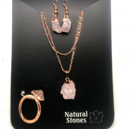 Raw Rose quartz 5 piece set BR2289 2 | Himalayan Salt Factory