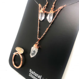 Raw terminated point Crystal 5 piece set ring size 10 BR228 1 | Himalayan Salt Factory