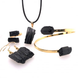 Spiritual black Tourmaline 4 PC Jewelry Set - BR 1456 5 | Himalayan Salt Factory