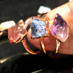 Eight Raw gemstones Ring Size 6 Copper Rings BR 2331   Himalayan Salt Factory