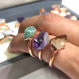 Raw types Stones Copper Rings 16 pcs BR 2441 | Himalayan Salt Factory