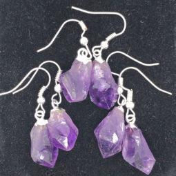 x 3 Terminated Point Amethyst Gemstone Drop Earrings - BR 1130 | Himalayan Salt Factory