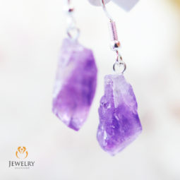 x 3 Terminated Point Amethyst Gemstone Drop Earrings - BR 1130 | Himalayan Salt Factory