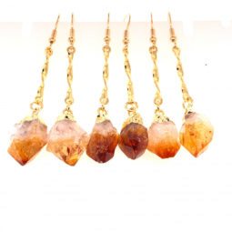 3 x Raw Beautiful Citrine Earrings Lovers - BR 1367 | Himalayan Salt Factory
