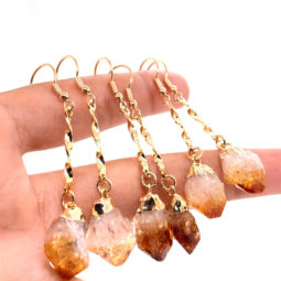 3 x Raw Beautiful Citrine Earrings Lovers - BR 1367 | Himalayan Salt Factory