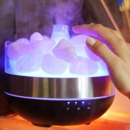 Rose Quartz Diffuser Humidifier - Polished Stones | Himalayan Salt Factory