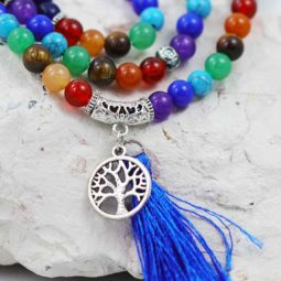 Prayer Beads Lapis and Gemstones Tree of life CF 479   Himalayan Salt Factory