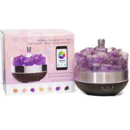 Diffuser with Amethyst Polished Stone | Himalayan Salt Factory