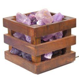 Amethyst Crystal Rock Cubic Lamp | Himalayan Salt Factory