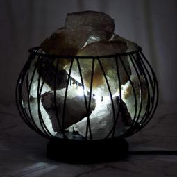 Clear Crystal Amore Lamp at Night | Himalayan Salt Factory