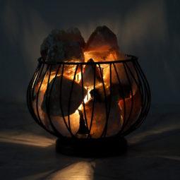 Golden Crystal Amore Lamp at Night | Himalayan Salt Factory