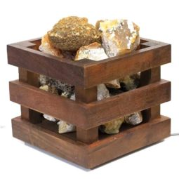 Golden Crystal Rocks Cubic Lamp | Himalayan Salt Factory