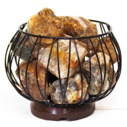 Golden Crystal Rocks Relaxing Amore Lamp | Himalayan Salt Factory