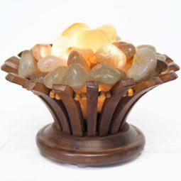 Golden Rutilated Quartz Gemstones Lotus Lamp   Himalayan Salt Factory