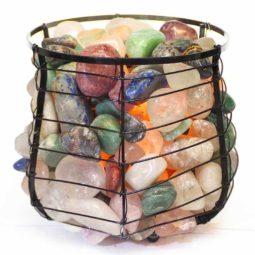 Mixed Gemstones Holistic Capsule Lamp   Himalayan Salt Factory