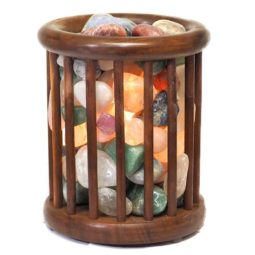 Mixed Gemstones Holistic Tubulr Lamp | Himalayan Salt Factory