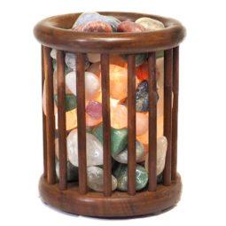 Mixed Gemstones Holistic Tubulr Lamp   Himalayan Salt Factory