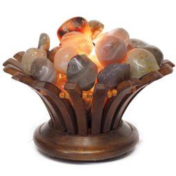 River Jasper Gemstones Lotus Lamp   Himalayan Salt Factory
