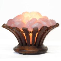 Rose Quartz Crystal Gemstones Love Lotus Lamp | Himalayan Salt Factory