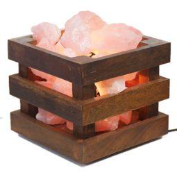 Rose Quartz Crystal Rock Love Cubic Lamp | Himalayan Salt Factory