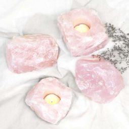 Rose Quartz Crystal Set – 4 Pieces | Himalayan Salt Factory