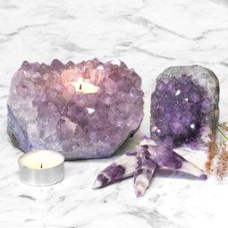 Decoration Small Amethyst Tea Light Candle Holder Set 5 Pieces | Himalayan Salt Factory