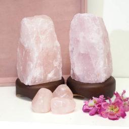 Rose Quartz Crystal Lamp Set 1   Himalayan Salt Factory