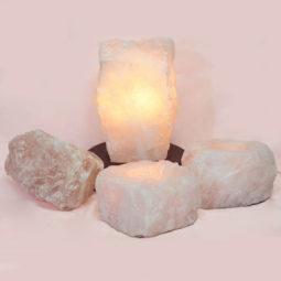 Rose Quartz Crystal Lamp Set 4 Pieces S342-3 | Himalayan Salt Factory