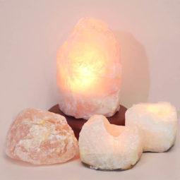 Rose Quartz Crystal Lamp Set 4 Pieces S343-1 | Himalayan Salt Factory