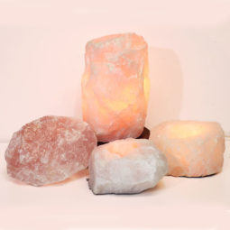 Rose Quartz Crystal Lamp Set 4 Pieces S345-1 | Himalayan Salt Factory