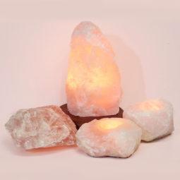 Rose Quartz Crystal Lamp Set 4 Pieces S346 | Himalayan Salt Factory