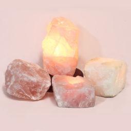 Rose Quartz Crystal Lamp Set 4 Pieces S347-1 | Himalayan Salt Factory